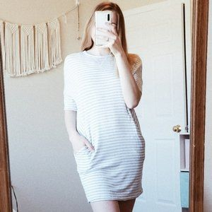 LOU & GREY Striped Crewneck Plush Mini Dress XS